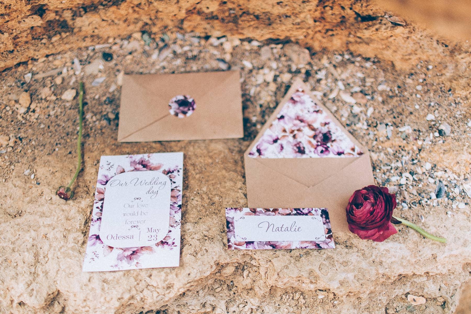 Оформление свадебной фотосесии - открытки и конверты